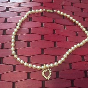Fashion Faux Cz stone pearl  Vintage necklace
